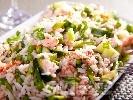 Рецепта Салата с ориз, грах, краставица и филе сьомга